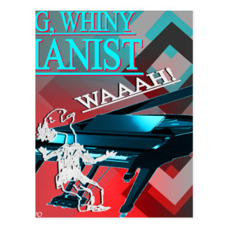 """""""Big Whiny Pianist"""" Blue and Red Postcard"""