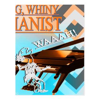 Big Whiny Pianist Cyan & Orange Postcard