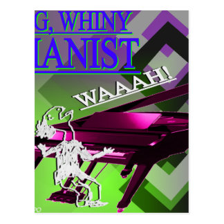 """""""Big Whiny Pianist"""" Green, Pink, and Blue Postcard"""