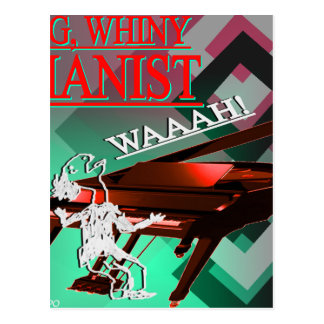 """""""Big Whiny Pianist"""" Red and Green Postcard"""