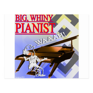"""""""Big Whiny Pianist"""" Red, Blue, and Yellow Postcard"""