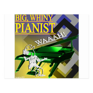 """""""Big Whiny Pianist"""" Yellow and Green Postcard"""