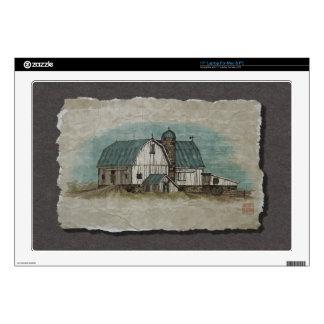 "Big White Amish Barn 17"" Laptop Decal"