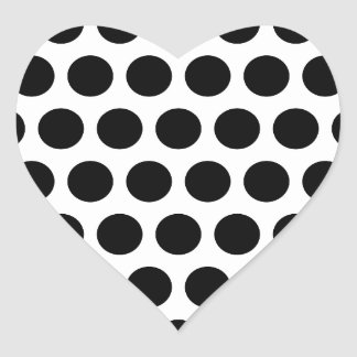 Big White and Black Polka Dots Heart Sticker