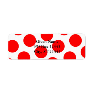 Big White and Red Polka Dots Label