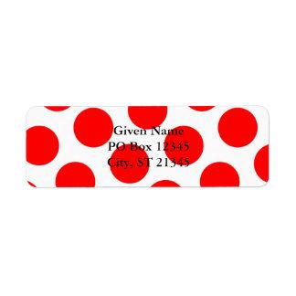 Big White and Red Polka Dots Return Address Labels