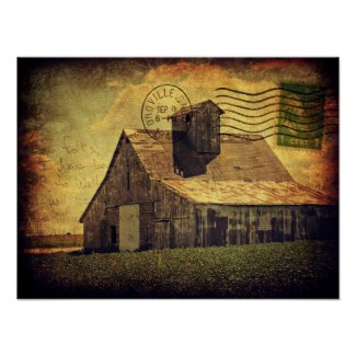 Big White Barn Digital Art Poster