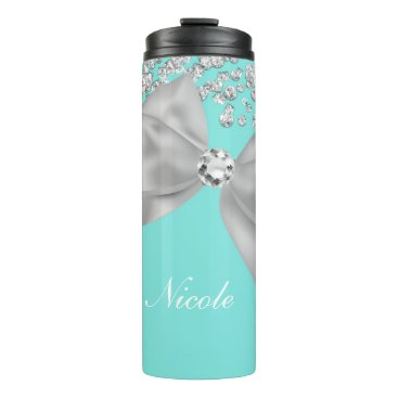 McTiffany Tiffany Aqua Big White Bow & Diamonds Tiffany Blue Thermal Tumbler