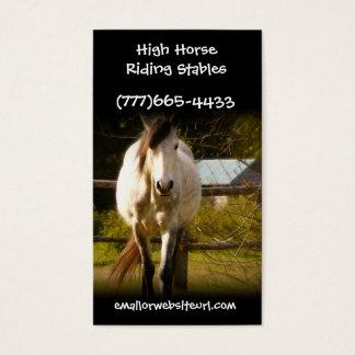 Big White Horse in Rural Field Equestrian Biz Business Card