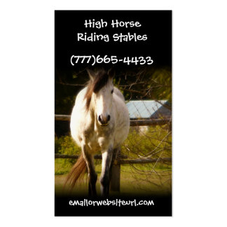 Big White Horse in Rural Field Equestrian Biz Double-Sided Standard Business Cards (Pack Of 100)