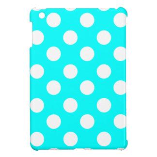 Big White Polka Dots on Aqua Cover For The iPad Mini