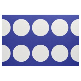 Big White Polka Dots on Blue Fabric