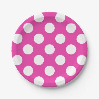 pink polka dot paper plates