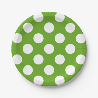 Big White Polka Dots on Green Apple Paper Plate