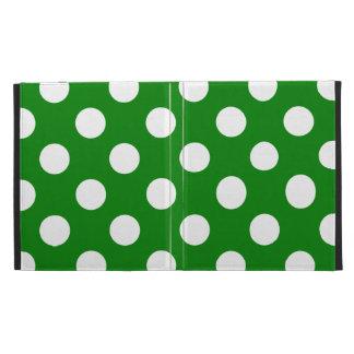Big White Polka Dots on Green iPad Folio Cases