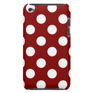 Big White Polka Dots on Maroon Barely There iPod Case