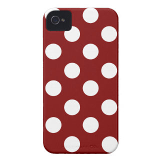 Big White Polka Dots on Maroon iPhone 4 Case