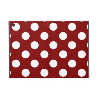 Big White Polka Dots on Maroon iPad Mini Cover