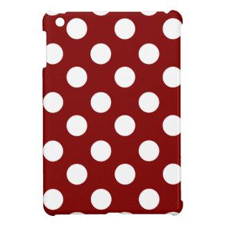 Big White Polka Dots on Maroon iPad Mini Cases
