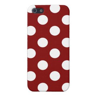 Big White Polka Dots on Maroon iPhone 5 Covers