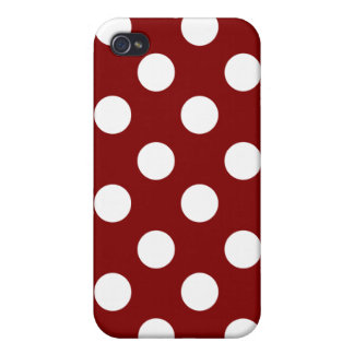 Big White Polka Dots on Maroon iPhone 4 Cases
