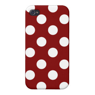 Big White Polka Dots on Maroon Cases For iPhone 4