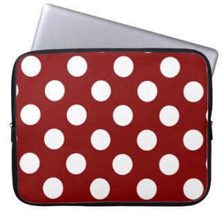 Big White Polka Dots on Maroon Laptop Sleeves