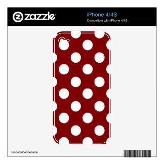 Big White Polka Dots on Maroon Skin For The iPhone 4
