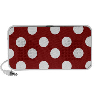 Big White Polka Dots on Maroon Travel Speaker