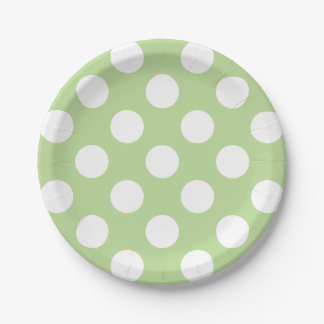 Big White Polka Dots on Mint Green Paper Plate