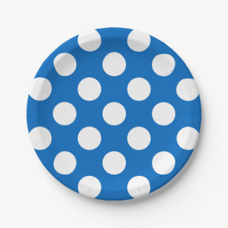 Big White Polka Dots on School Days Blue Paper Plate