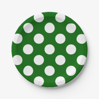 Big White Polka Dots on School Days Green Paper Plate