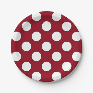 Big White Polka Dots on School Days Red Paper Plate
