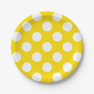 Big White Polka Dots on School Days Yellow Paper Plate