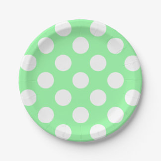 Big White Polka Dots on Spring Green Paper Plate