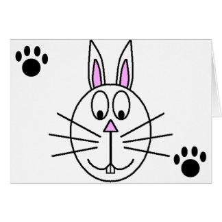 Big White Rabbit cartoon drawing Card