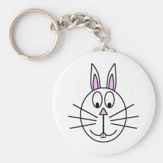 Big White Rabbit cartoon drawing Keychain