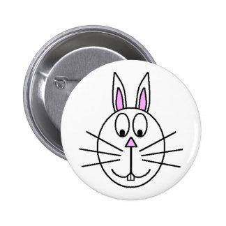 Big White Rabbit cartoon drawing Pinback Button