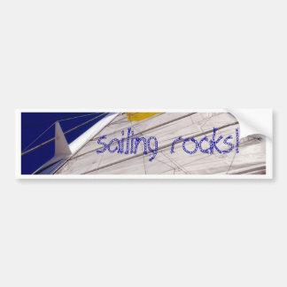 big white sail on deep blue sky background bumper sticker