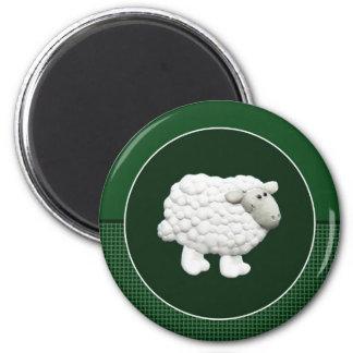 Big White Sheep 2 Inch Round Magnet
