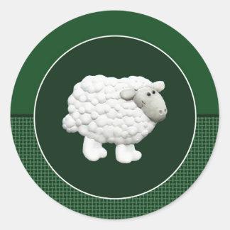Big White Sheep Classic Round Sticker