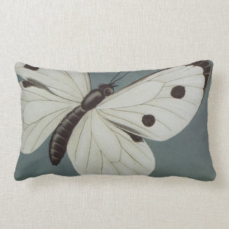 Big White/Turquoise Butterfly Blue Lumbar Pillow