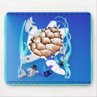 Big White Turtle and Friends Mouse Pad