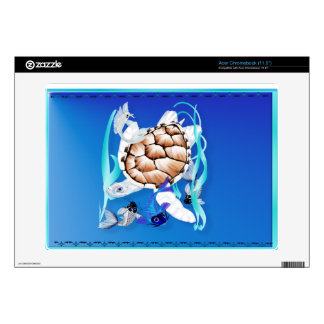 Big White Turtle and Friends Decal For Acer Chromebook