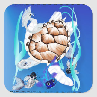Big White Turtle and Friends Sticker