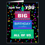 """Big Work Birthday Card from Group<br><div class=""""desc"""">This big work birthday card from group features a three layer cake on the large birthday card. The card reads &quot;Just for You Big Birthday wishes from all of us&quot;. Inside, the words Happy Birthday appear in large print. This makes a great birthday card from a group of people. Copyright...</div>"""