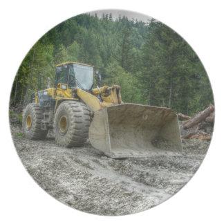 Big Yellow Bulldozer Tractor Heavy Equipment Melamine Plate
