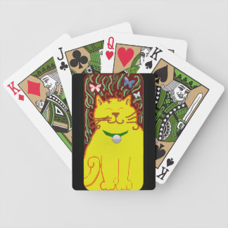 big yellow cat bicycle playing cards