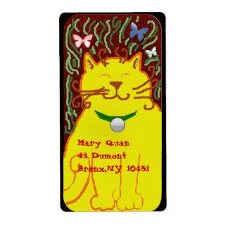 big yellow cat custom shipping labels