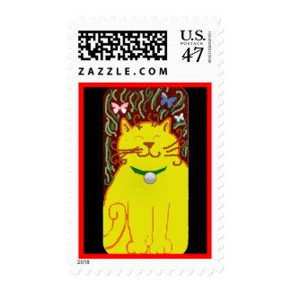 big yellow cat postage